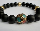 Tyrion II - Onyx Men's Bracelet with Tibetan Turquoise Coral Accent