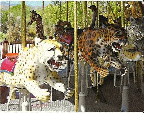 Handmade Postcard from Fine Art - Wild Cats on Marilyn's Merry-Go-Round at The Living Desert Palm Desert California