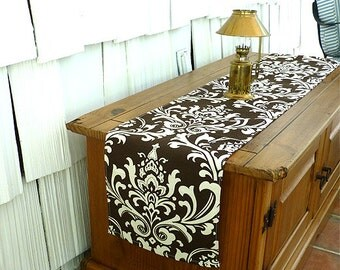 runners Shower   Brown Wedding  Damask Runners Table table Runner etsy Table wedding Baby Gift