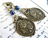 Boho earrings lapis lazuli earrings bohemian earrings dangle rose earring long drop earrings leaf earring bohemian jewelry Baroque Victorian