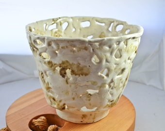 Off - White Pottery Vase, Minimalist / Abstract Design