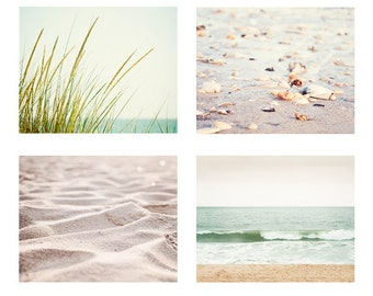 Beach Photography Set, Four 11x14, 8x10 Photographs, 4 neutral pale ocean grass sand light green cream beige white seashore wall art print