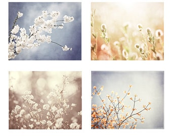 Nature Photography Set, blue beige cream white grey peach pale light yellow floral branches prints botanical wall photography brown branch