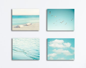 Beach Canvas Photography Set - light blue coastal wall art pale aqua ocean gallery wrap four coastal photography sea nautical prints seaside