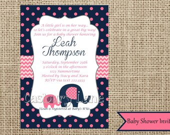 Baby Shower Invite-Elephant Baby Shower Collection-Casbury Lane