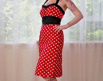 Red Polka Dot 'Dottie' Dress 1950s Pin up Rockabilly with Sweetheart Neckline, Black Contrast and Pencil Skirt - custom made to fit