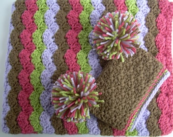 Baby Girl Gift Set, Crochet Baby Crib Blanket and Hat Gift Set, chocolate brown, raspberry pink, lilac purple, and sweet pea green