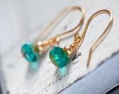 Emerald Green Earrings, Green, Green Earrings, Green Gold Earrings, Gold Dainty Earrings, Dainty Earrings, Small Earrings,