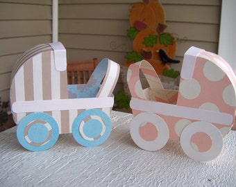 Baby Carriage Favor Boxes  Set of 12