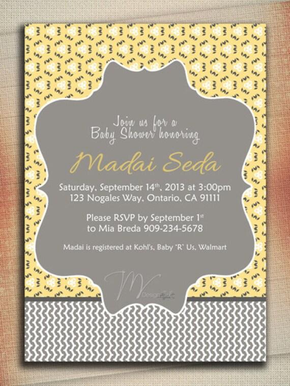 yellow and gray baby shower invitation baby shower invitation bridal