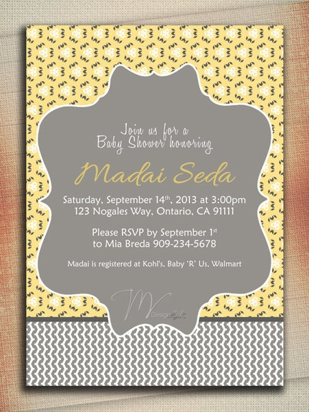 yellow and gray baby shower invitation baby shower