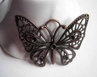 2 Copper Tone Butterfly Pendants, 48x36mm, Jewelry Supplies   (b127)