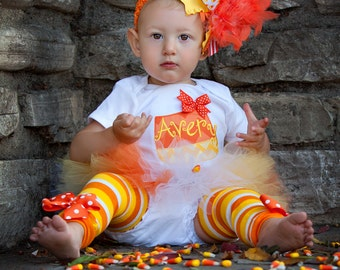 FREE SHIPPING Baby Girl Tutu Outfit for Halloween - Candy Corn Sweetie - personalized bodysuit, leg warmers, tutu, and Over The Top bow