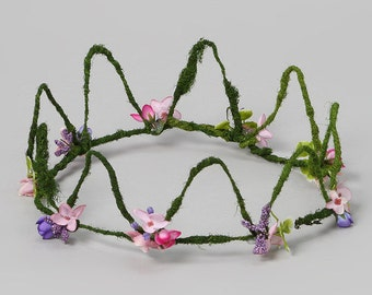 SALE regular price 75.00 now for 49.99 Fairy Crown or Tiara Mossy  with little flowers,woodland, Fairy, photography, Birthday