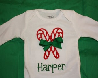 Personalized Applique Christmas Gingerbread GIRL Long/Short sleeve onesie or tshirt