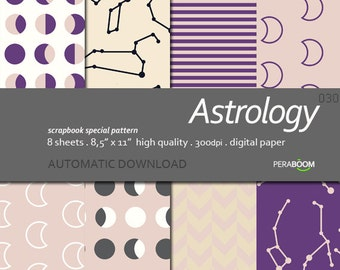Digital paper Astrology Beige black purple digital paper pack with neutral beige geometric backgrounds and patterns for scrapbooking, Moon
