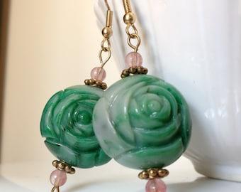 Rose and Green Rosebud Earrings