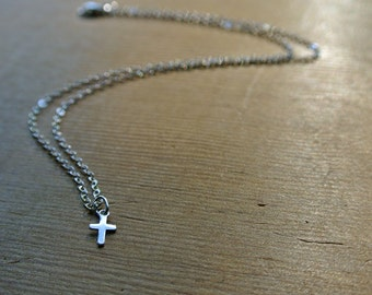 Tiny Cross Necklace with Sterling Silver Chain - minimal, simple and delicate