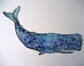 11x14 Whale Watercolor Print