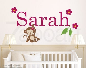Girl's Name Personalized Monkey Wall Decal