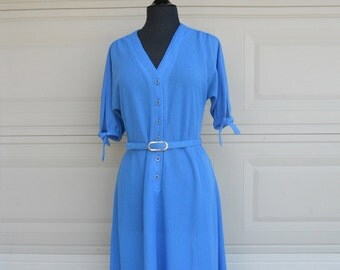 60s 70s Day Dress . Blue Button Up Knit Shirtwaist Dress by R & K Knits