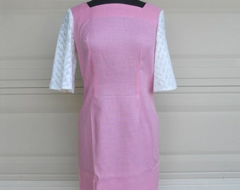 1960s Pink Sheath Dress with Lace S-M