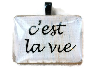 Go Green 1 1/4 inch rectangle words cest la vie such is life pink handmade marbled paper glass pendant eco friendly