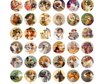 Digital Clipart, instant download, Dogs, Puppies, boxer, terrier, scottie, 1 inch Circles--Digital Collage Sheet (8.5 by 11 inches)  683
