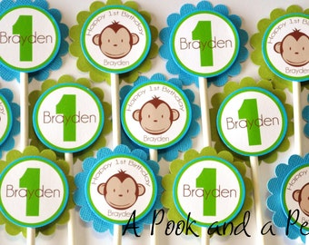 Blue Green Boy Monkey Birthday Cupcake Toppers