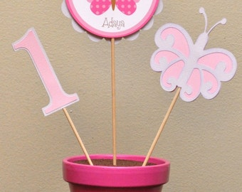 Custom Personalized Pink and Purple Butterfly Centerpiece Birthday Shower Decoration