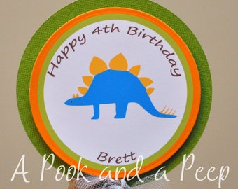 Dinosaur Personalized Centerpiece Stake Cake Topper Personalized Birthday or Shower Decoration