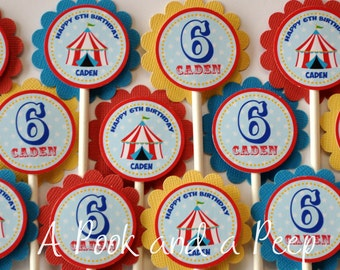 Big Top Circus Tent Personalized Birthday Cupcake Toppers Picks in Red Blue and Yellow Customizable for Colors and Showers