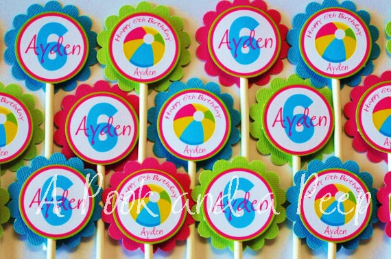 Bright Beach Pool Party Summer Themed Girl Birthday Cupcake Toppers in Blue Pink Yellow and Green