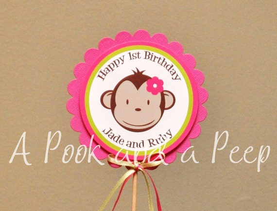 Pink and Lime Green Mod Monkey Centerpiece Cake Topper Birthay Shower Decoration
