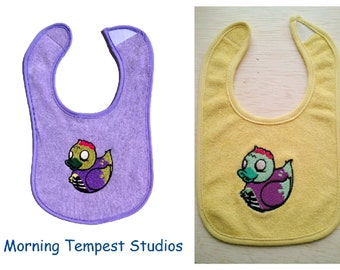 Zombie rubber duck embroidered baby feeding bib.