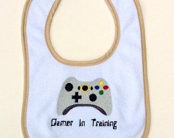 Gamer In Training Embroidered Baby Bib