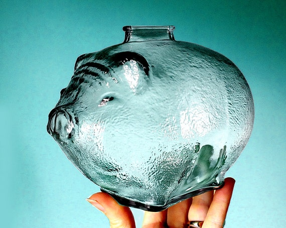 Large Anchor Hocking Glass Piggy Bank Pig Piglet Fat Happy