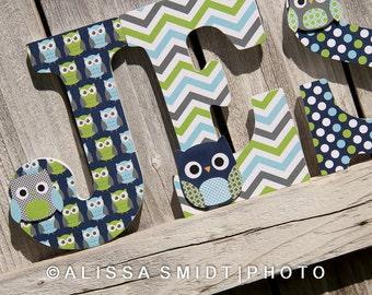 Custom Nursery Wooden Letters, Baby Boy Nursery - Owl Theme Custom Letters, 9 inch Size