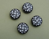 8-Vintage Etched Mosaic Black and Silver Flat Round Beads 15mmx7mm.