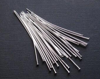 100-Silver Plated Brass Headpins 2 Inch 21 Ga.