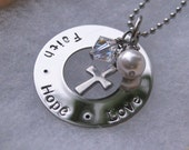 First Communion - Confirmation - Stamped Faith Hope Love Necklace - Religious Necklace - Christian Necklace - Personalized Necklace