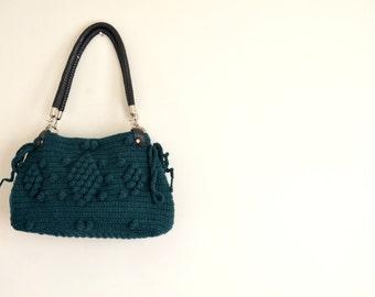 Handmade Green  Knit Bag, Celebrity Style,Crochet winter  bag-Nr:201-Gifts for mom,teacher gift