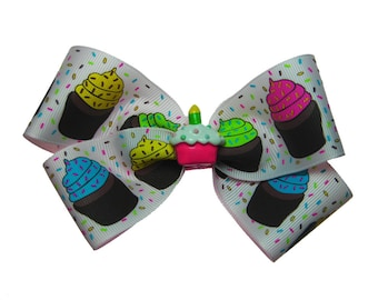 Large Happy Birthday Cupcake Sprinkles Hair Bow