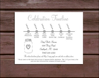 100 Mason Jar Timeline to include with your Wedding Invitations. Includes printing