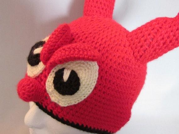 edcba45286f Crochet Devil hat with horns Earflap Hat Crochet Beanie