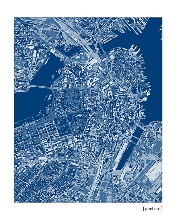 Boston Cityscape / Graphic City Map Art Print / Choose your color / 8x10 / Wall Art Poster