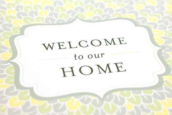 Welcome to our Home Art Print / Modern Typography Wall Art Poster / 8x10 Digital Print / Choose your Color Palette