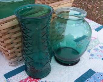 Vases Sea Green Art Glass Urn & Hoosier Style Pair Midcentury Vessels