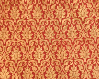 One yard of Indian silk brocade in red and gold