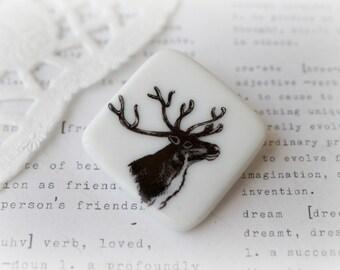 Deer Head Ceramic Brooch